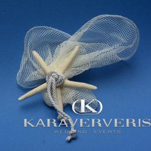 Μπομπονιέρα τούλι - δίχτυ λευκό με φυσικό αστερία