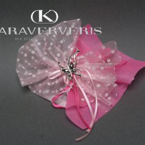 Έτοιμη Μπομπονιέρα Γάμου με καρφίτσα πεταλούδα σε πουά πουγκί