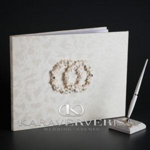 Ευχολόγιο Γάμου Στεφανάκια-Λουλουδάκια με στρας Σετ 35*26cm