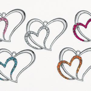 Κρεμαστή Διπλή καρδιά με στρας