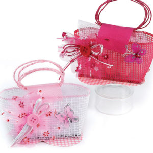 Μπομπονιέρα Βάπτισης τσαντάκι 8,5*6 cm  φούξια ή ροζ