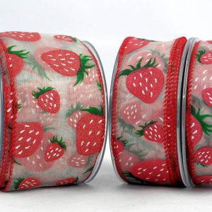 Κορδέλα Οργάντζα με Φράουλες