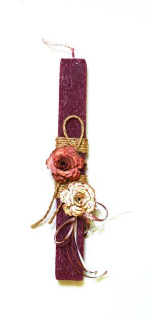 Χειροποίητη Πασχαλινή Λαμπάδα Μώβ με τριαντάφυλλα