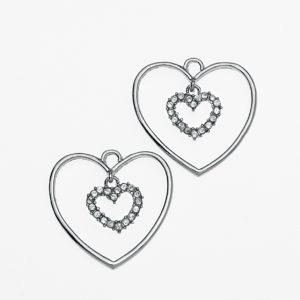 Μεταλλική Κρεμαστή Διπλή Καρδιά με στρας